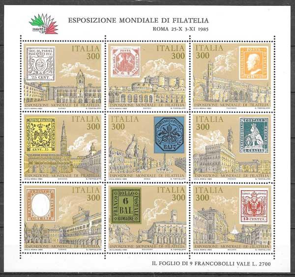 Filatelia arquitectura Italia 1985