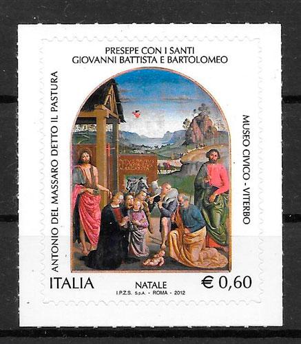 filatelia colección navidad Italia 2012