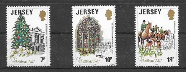 Sellos navidad de Jersey 1981