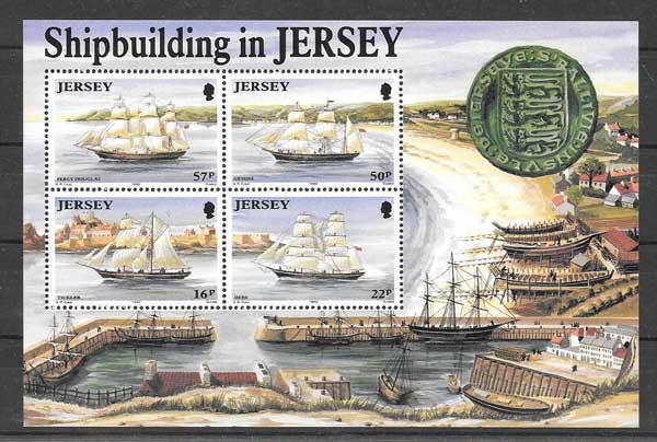 Colección sellos Hojita 4 sellos Transporte marítimo Jersey 1992