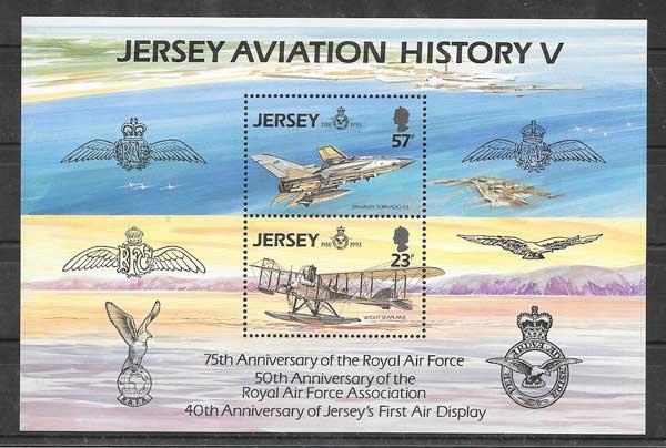 Colección sellos Jersey 1993 transporte aéreo