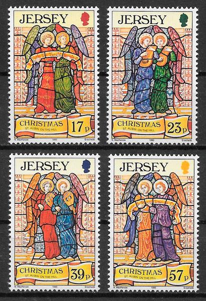 sellos navidad Jersey 1993