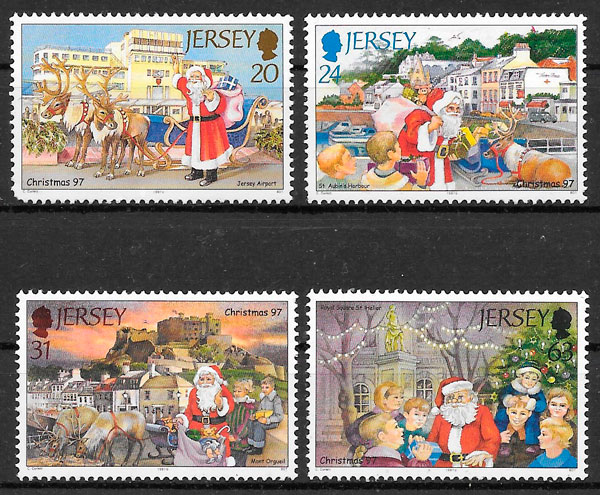 sellos navidad Jersey 1997
