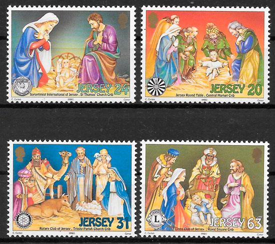 sellos navidad Jersey 1998