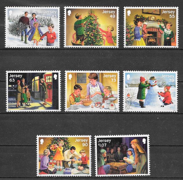 filatelia colección navidad Jersey 2017