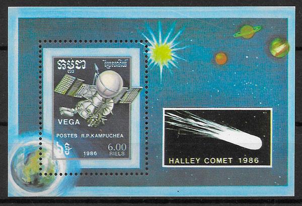 colección sellos espacio Kampuchea 1986