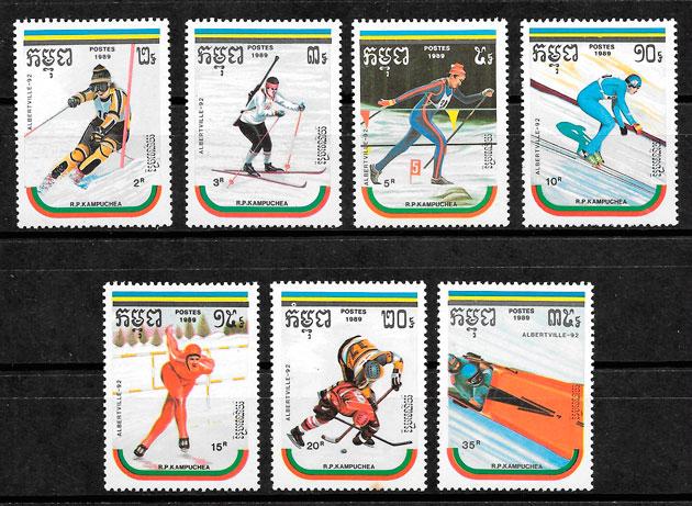 filatelia colección deporte Kampuchea 1988