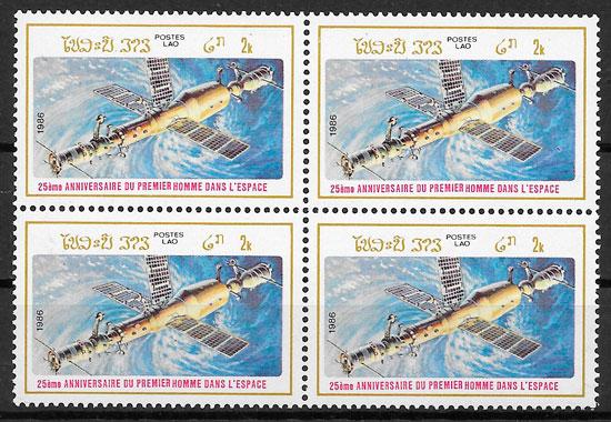 filatelia espacio LAOS 1986