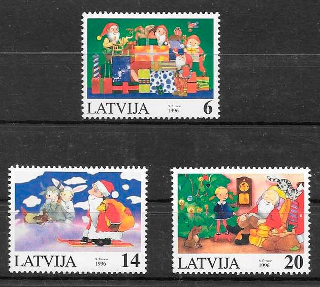 filatelia navidad Letonia 1996