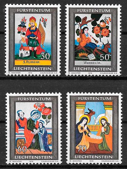 colección sellos navidad Liechtenstein 1974