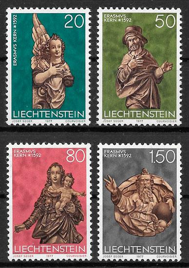 filatelia colección navidad Liechtenstein 1977