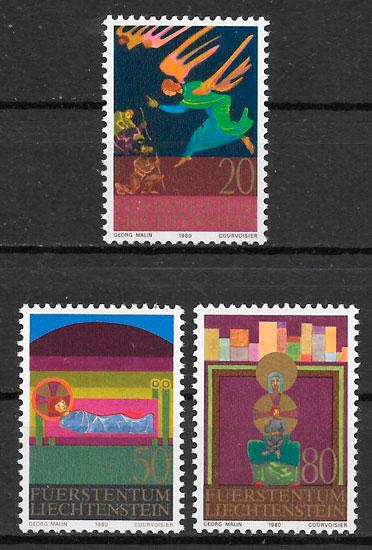 selos navidad Liechtenstein 1980