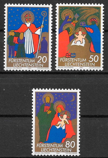 sellos navidad Liechtenstein 1981