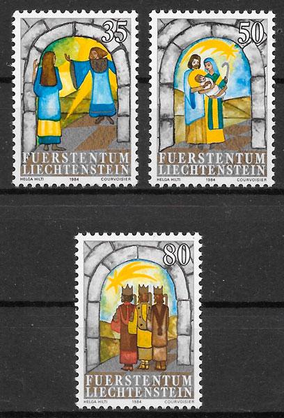 filatelia colección navidad Liechtenstein 1984