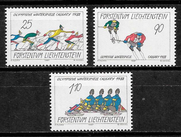 sellos deporte Liechtenstein 1987