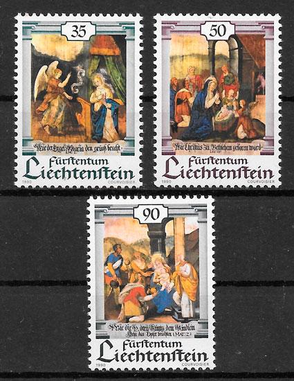 colección sellos navidad Liechtenstein 1990