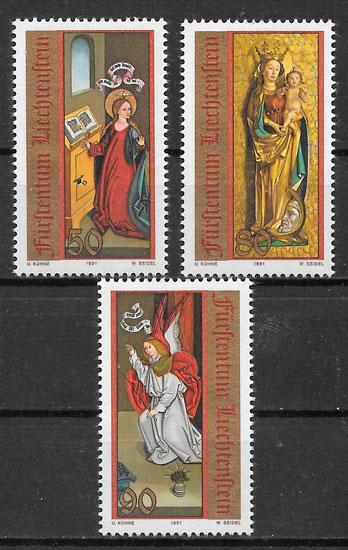 selos navidad Liechtenstein 1991