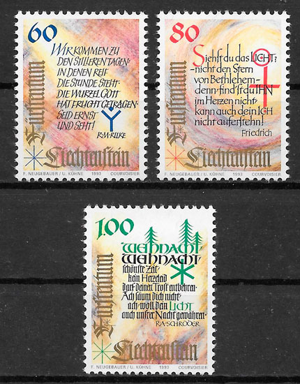 filatelia colección navidad Liechtenstein 1993