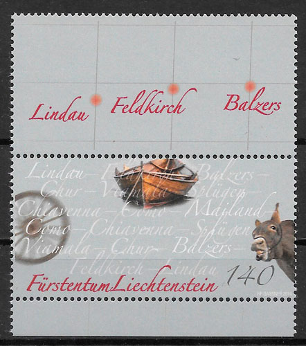 filatelia colección transporte Liechtenstein-2014
