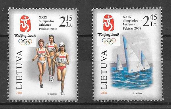 filatelia colección deporte Lituania 2008