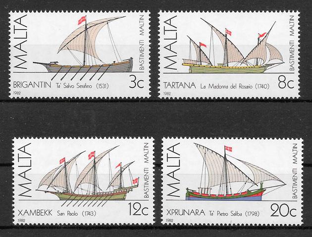 filatelia colección transporte Malta 1982