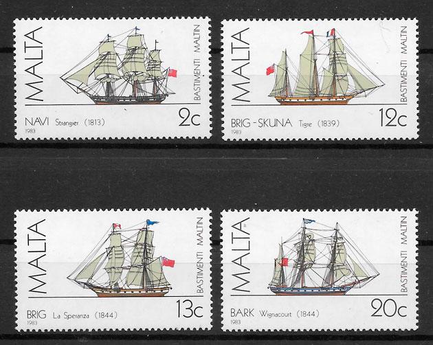filatelia colección transporte Malta 1983