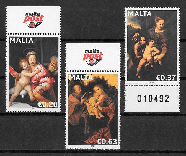 colección sellos navidad Malta 2011