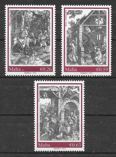 sellos navidad Malta 2015