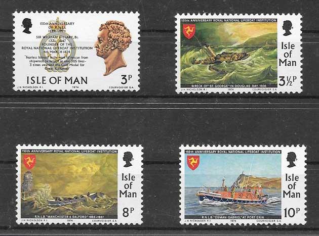 Sellos Filatelia Salvamento marítimo 1974