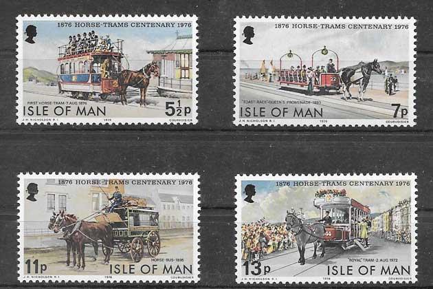Filatelia sellos Primeros tranvías de Isla de Man 1976
