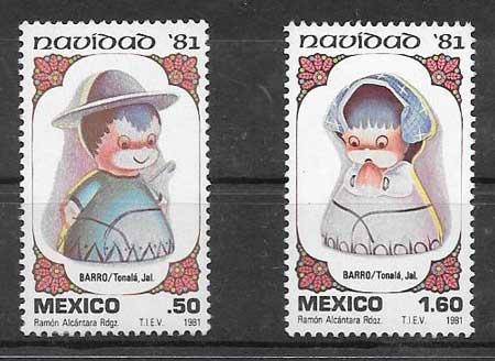 sellos colección navidad México 1981