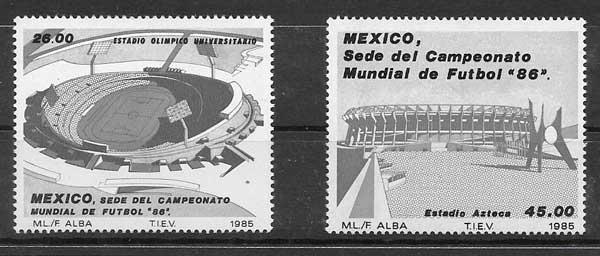 sellos colección fútbol México 1985