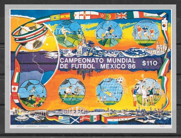 colección sellos México fútbol 1986