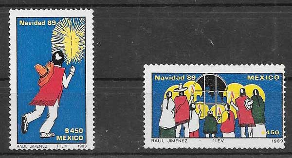 sellos navidad México 1989
