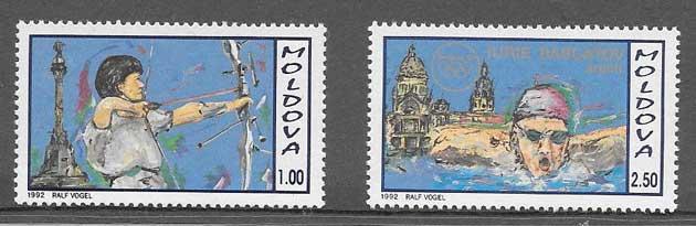 sellos deporte Moldavia 1992