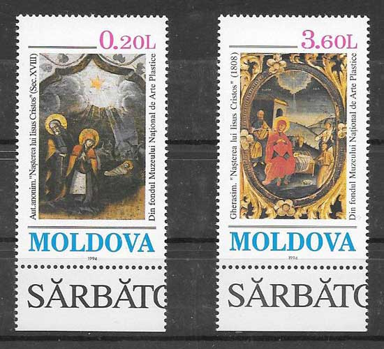 sellos Navidad Moldavia 1994