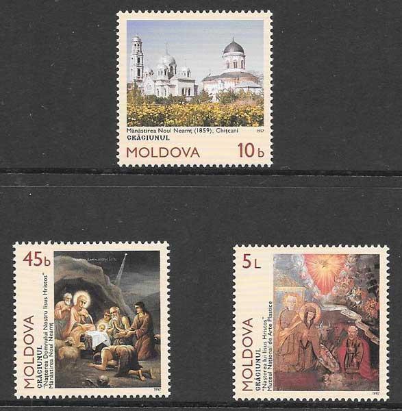 sellos colección navidad Moldavia 1997