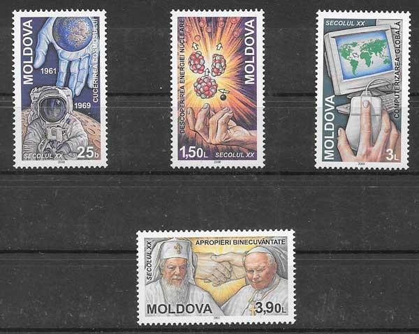 sellos personajes Moldavia 2000