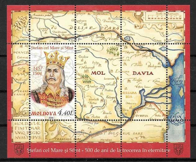 sellos personajes Moldavia 2004