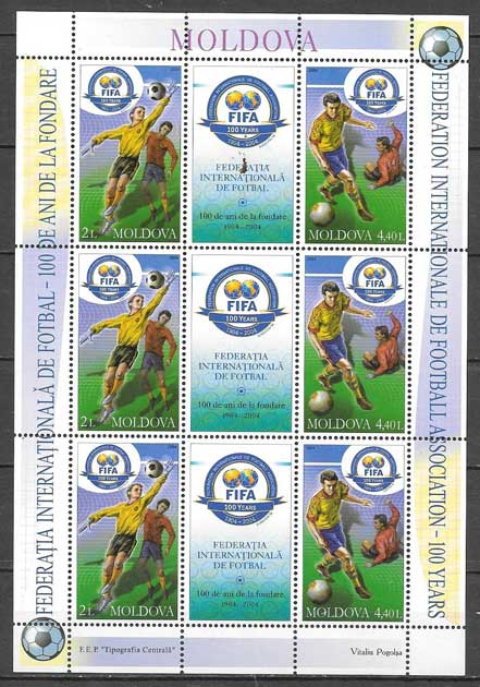 sellos fútbol Moldavia 2004