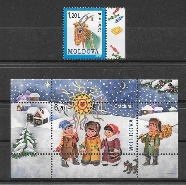 sellos navidad Moldavia 2008