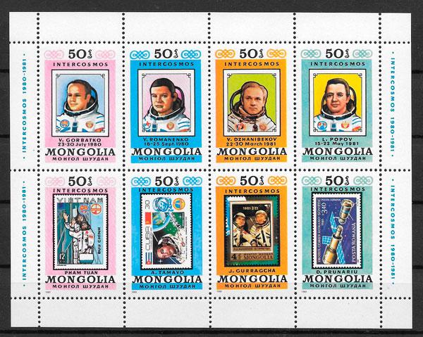 colección sellos espacio Mongolia 1981