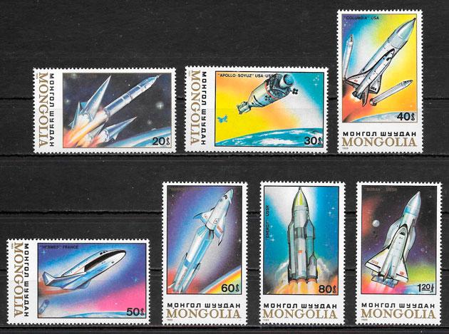 sellos espacio Mongolia 1989