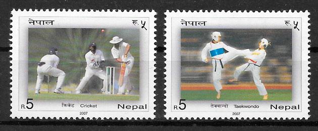 colección sellos deporte Nepal 2007