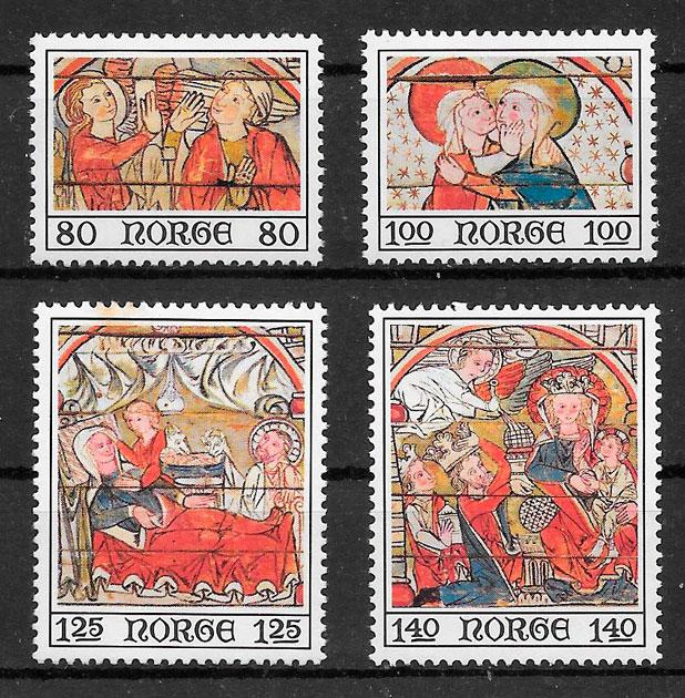 sellos navidad Noruega 1975