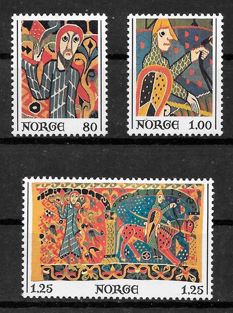 filatelia colección arte Noruega 1976