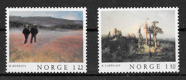 colección sellos arte Noruega 1977