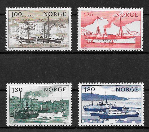 filatelia colección transporte Noruega 1977