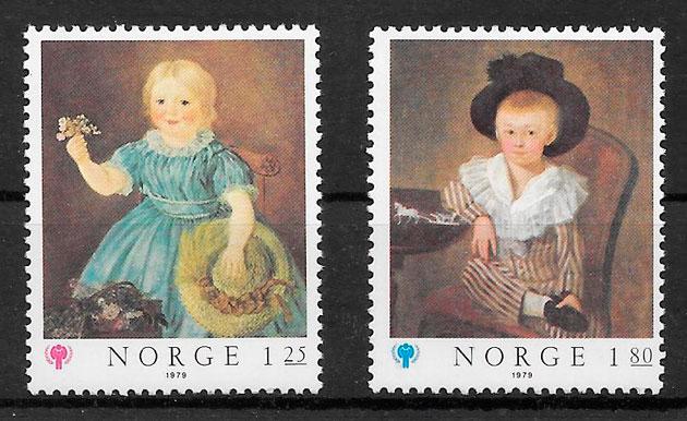 colección sellos arte Noruega 1979