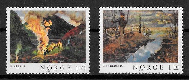 sellos arte Noruega 1980